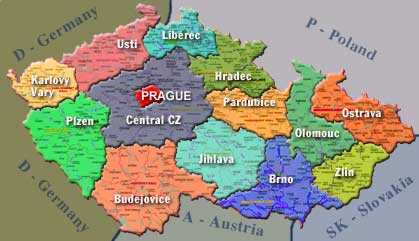 Map of Real Estate services and agencies in the Czech Republic